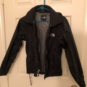North Face black wind and rain jacket